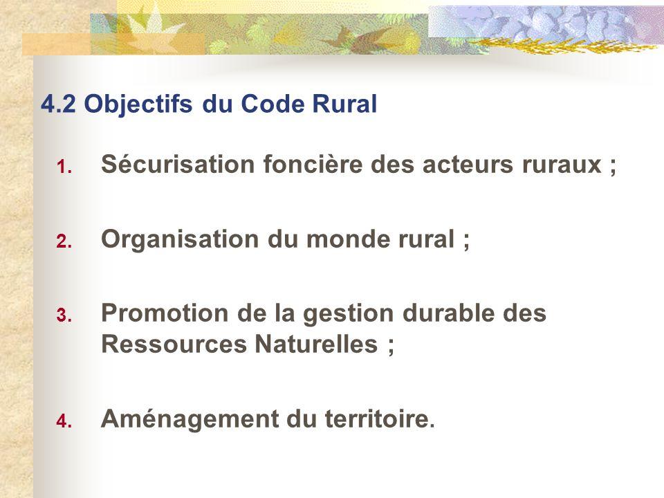 4.2 Objectifs du Code Rural