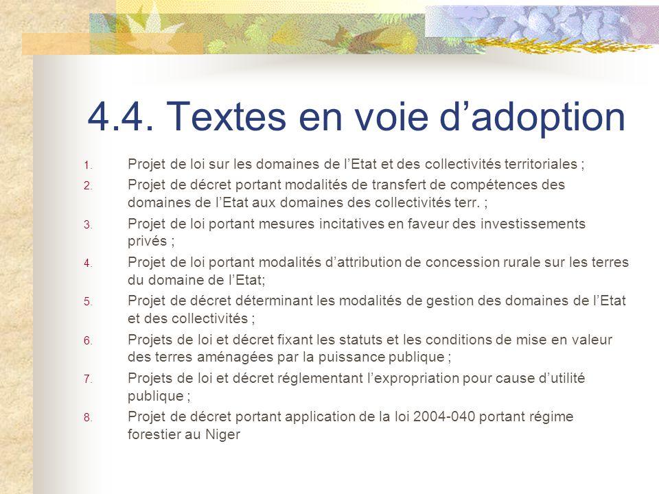 4.4. Textes en voie d'adoption