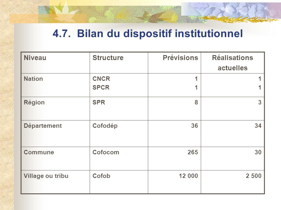 4.7. Bilan du dispositif institutionnel