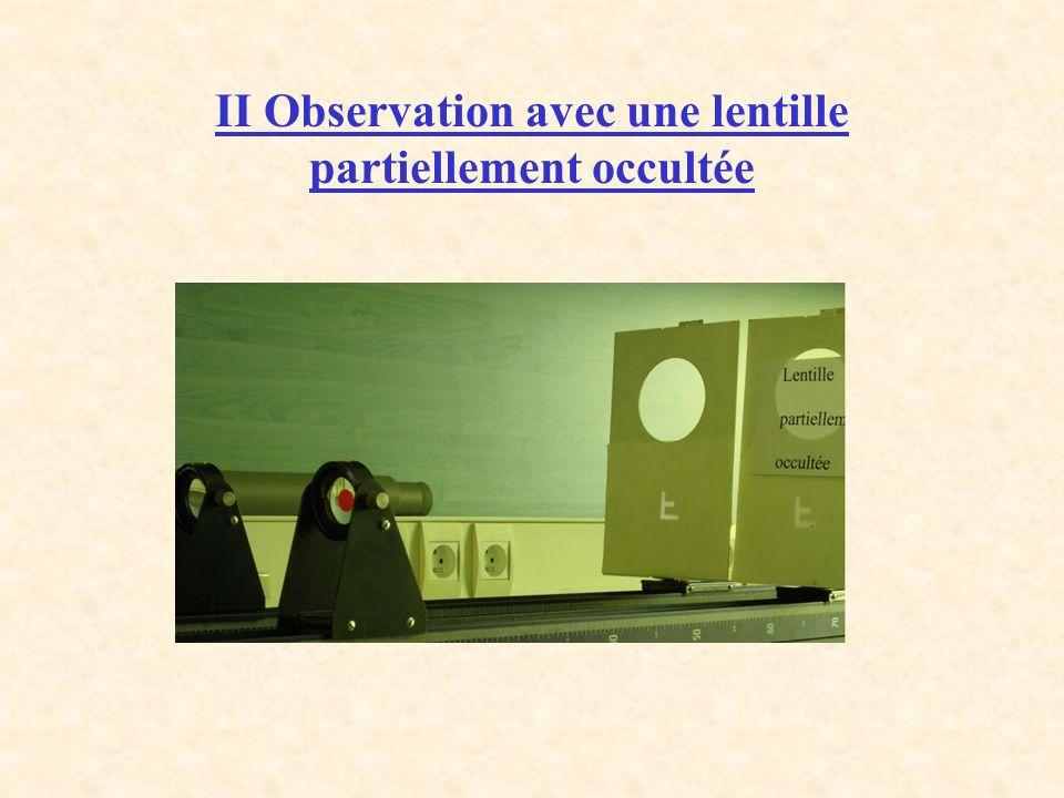 II Observation avec une lentille partiellement occultée