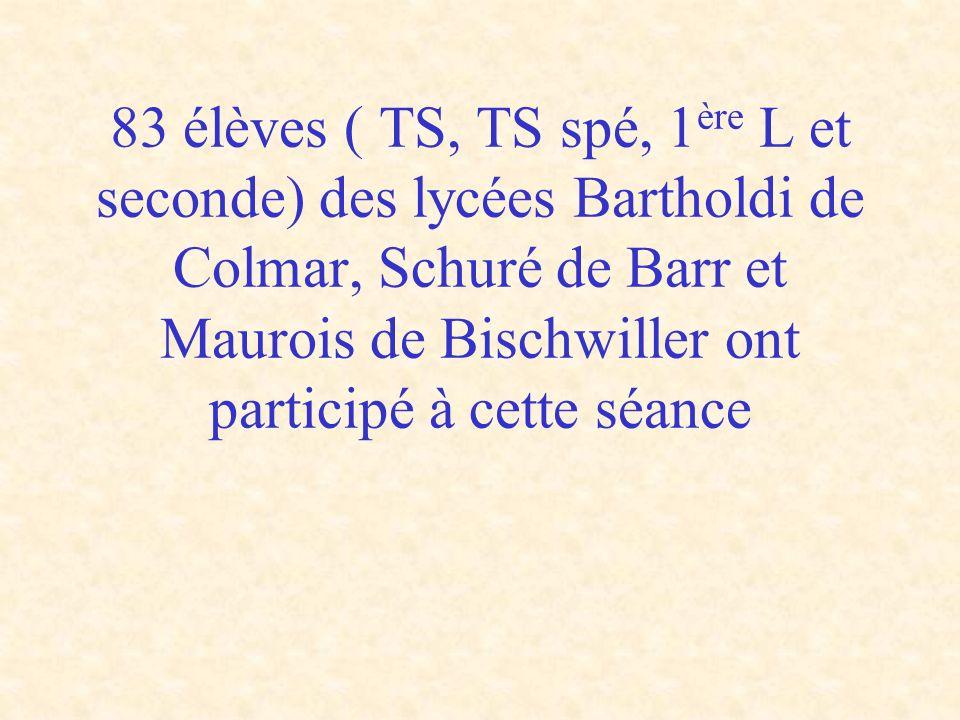 83 élèves ( TS, TS spé, 1ère L et seconde) des lycées Bartholdi de Colmar, Schuré de Barr et Maurois de Bischwiller ont participé à cette séance