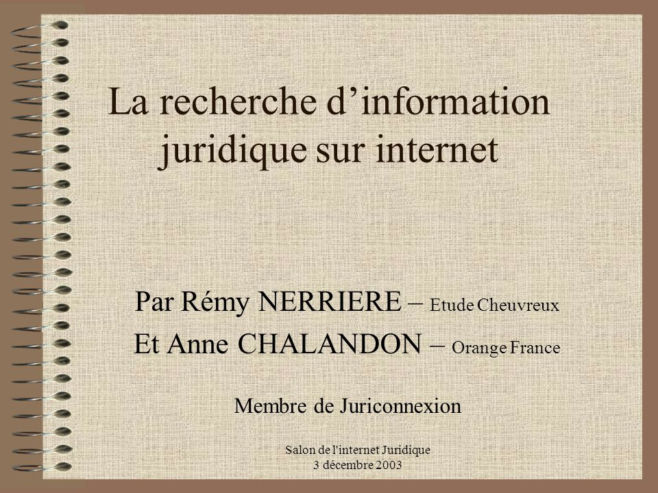 La recherche d'information juridique sur internet