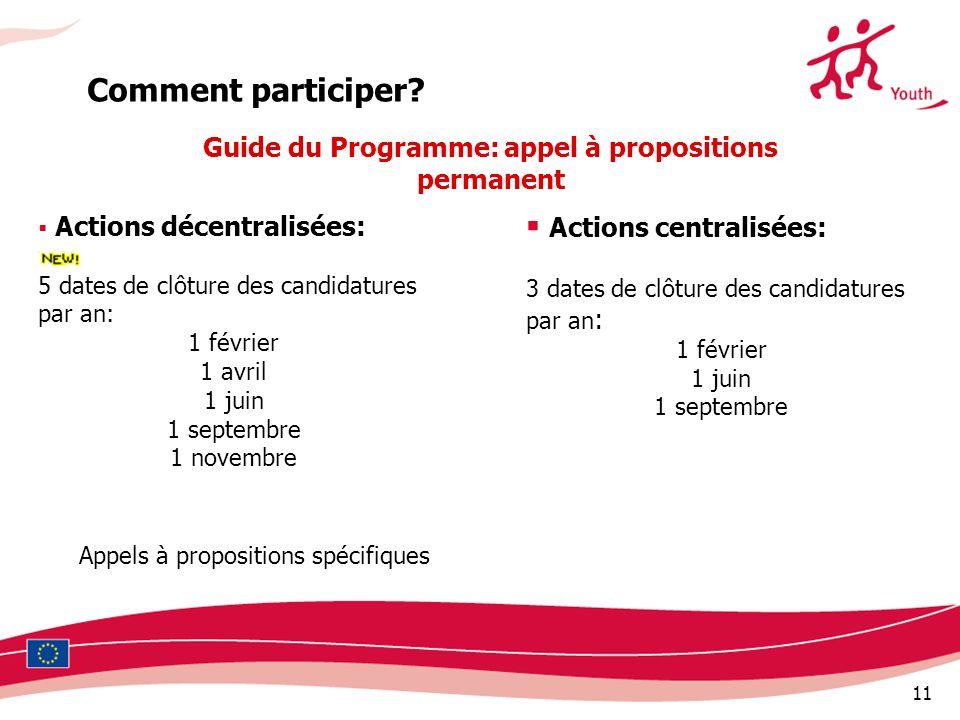 Guide du Programme: appel à propositions permanent