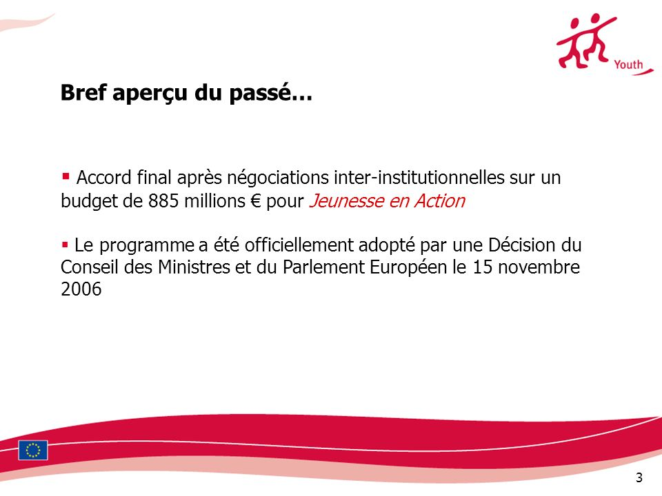 Bref aperçu du passé… Accord final après négociations inter-institutionnelles sur un budget de 885 millions € pour Jeunesse en Action.