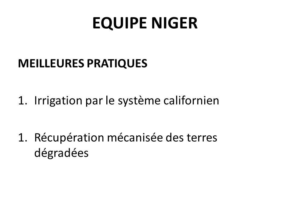 EQUIPE NIGER MEILLEURES PRATIQUES