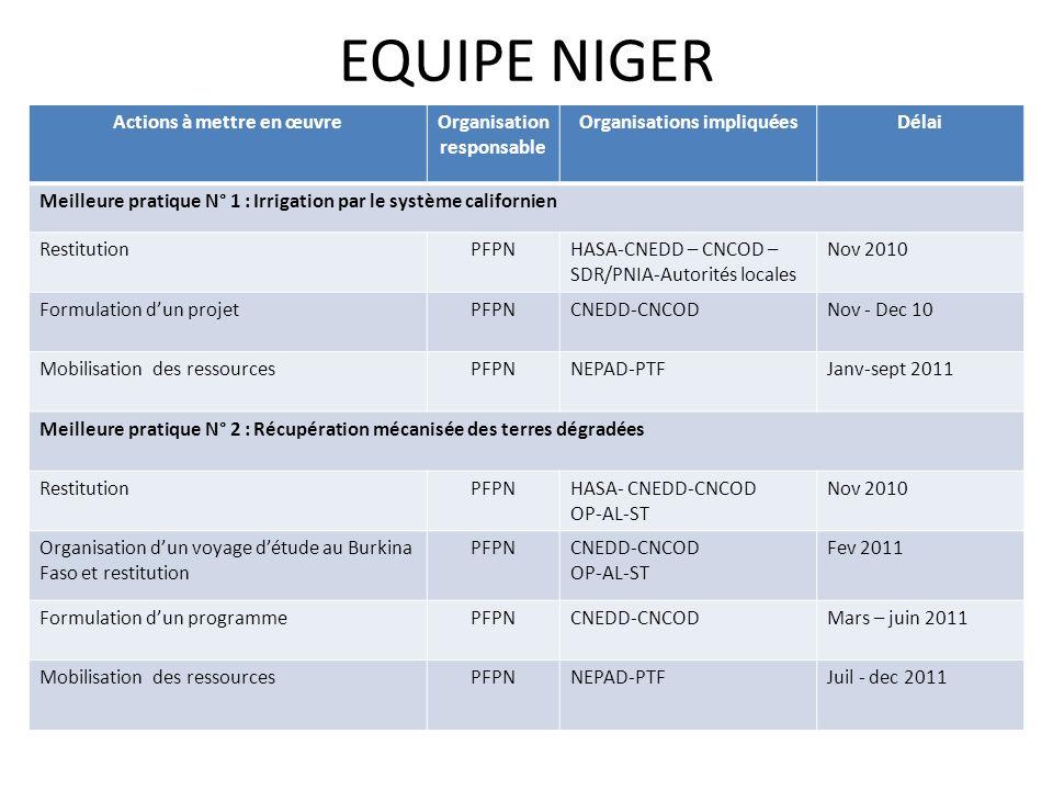 EQUIPE NIGER Actions à mettre en œuvre Organisation responsable
