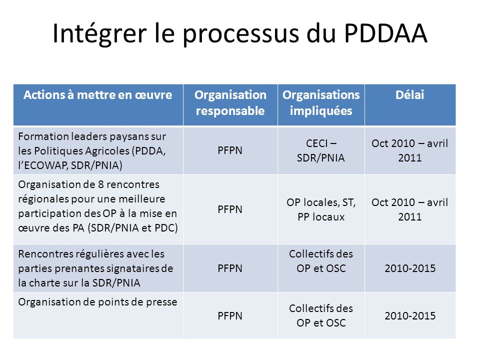 Intégrer le processus du PDDAA