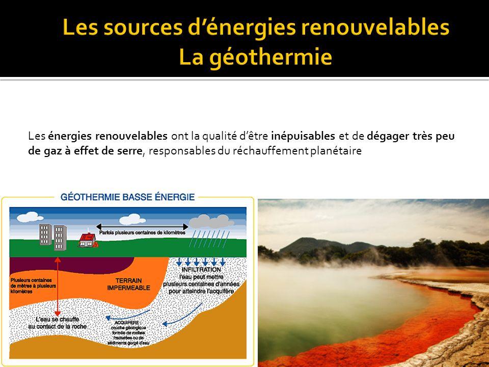 Les sources d'énergies renouvelables La géothermie