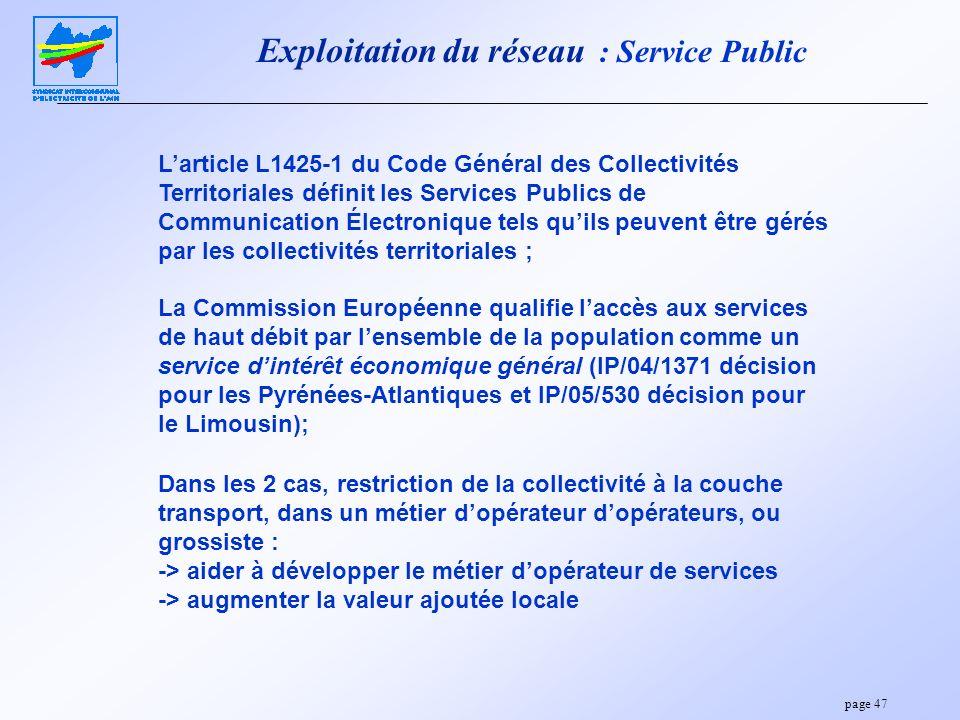 Exploitation du réseau : Service Public