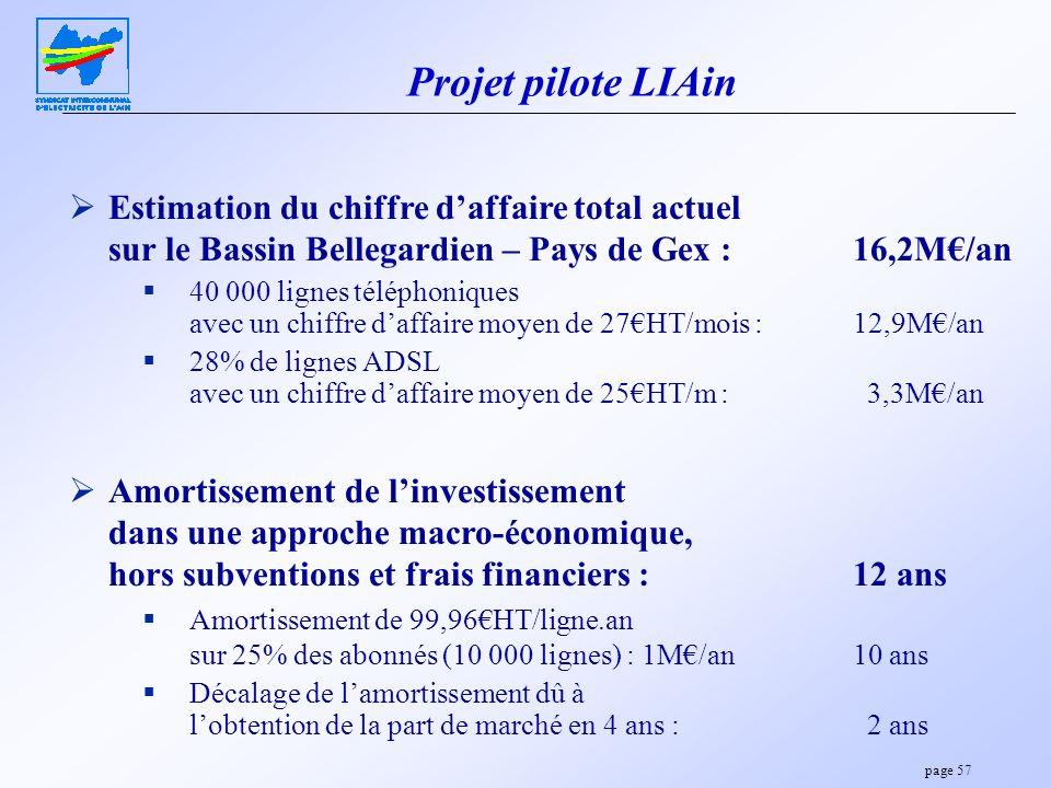 Projet pilote LIAin Estimation du chiffre d'affaire total actuel sur le Bassin Bellegardien – Pays de Gex : 16,2M€/an.