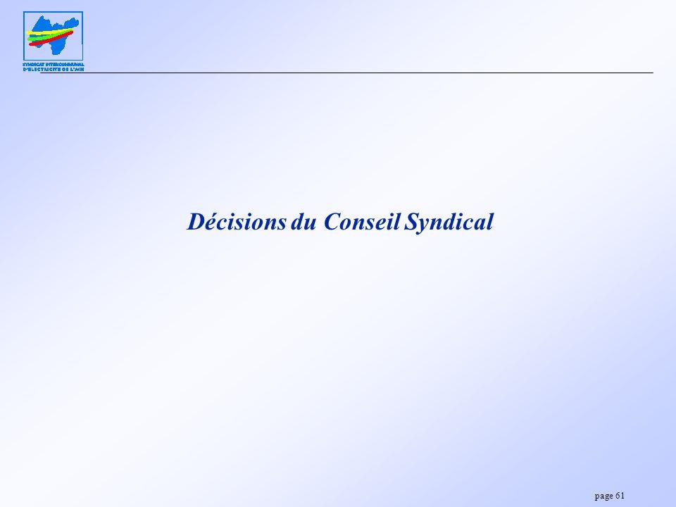 Décisions du Conseil Syndical