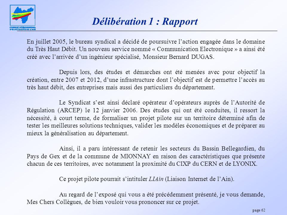 Délibération 1 : Rapport