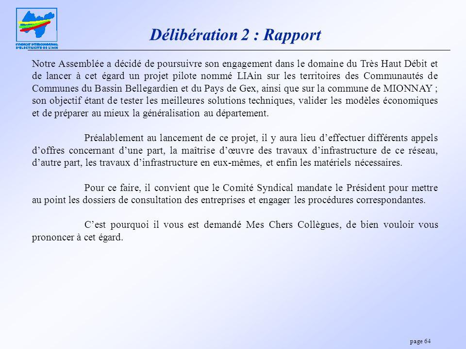Délibération 2 : Rapport