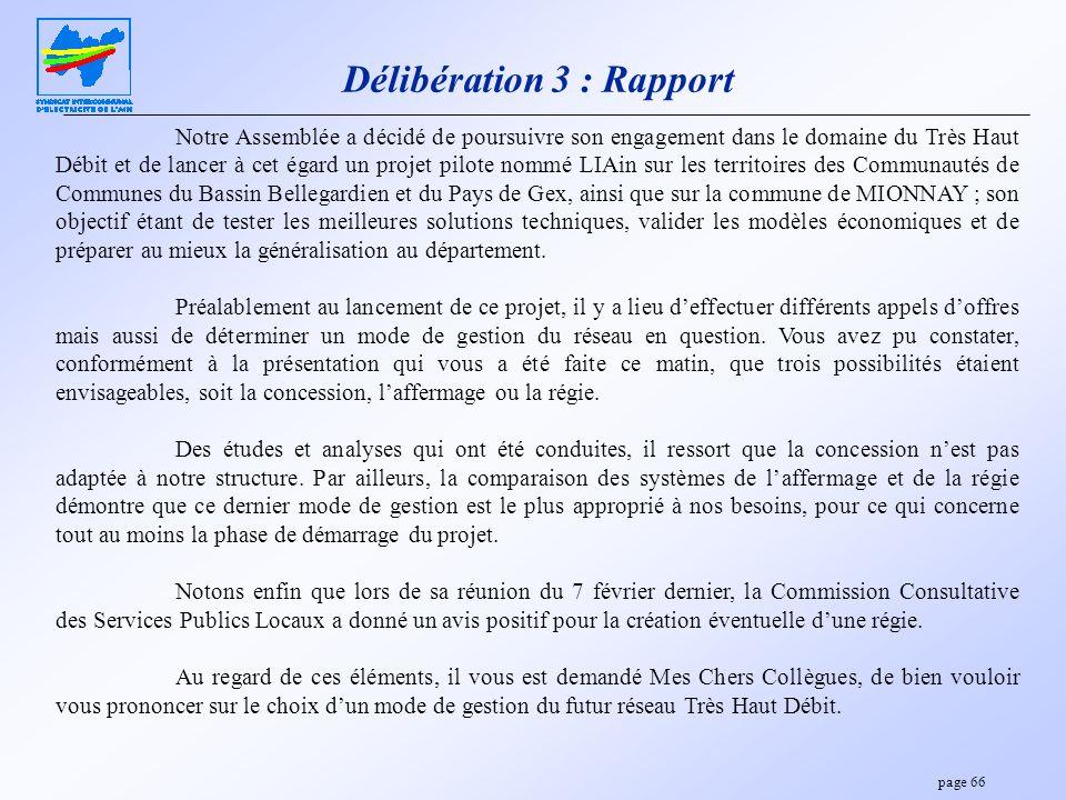Délibération 3 : Rapport