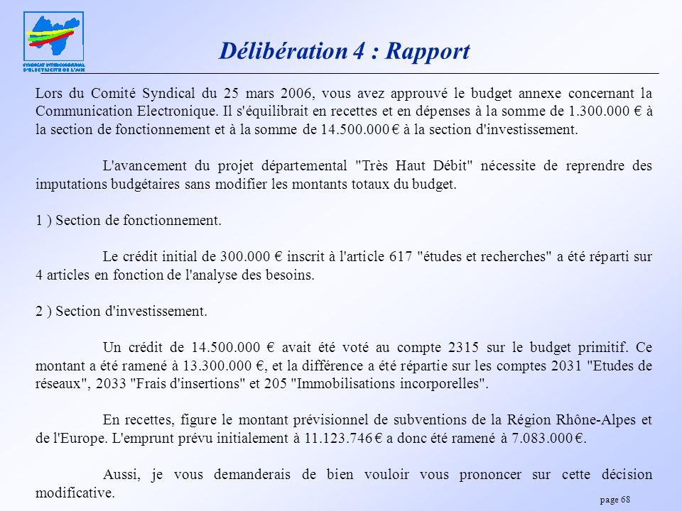 Délibération 4 : Rapport