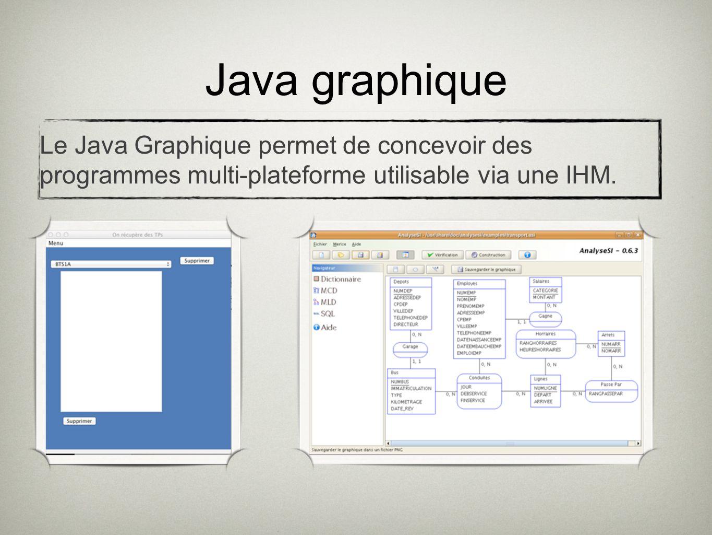 Java graphiqueLe Java Graphique permet de concevoir des programmes multi-plateforme utilisable via une IHM.