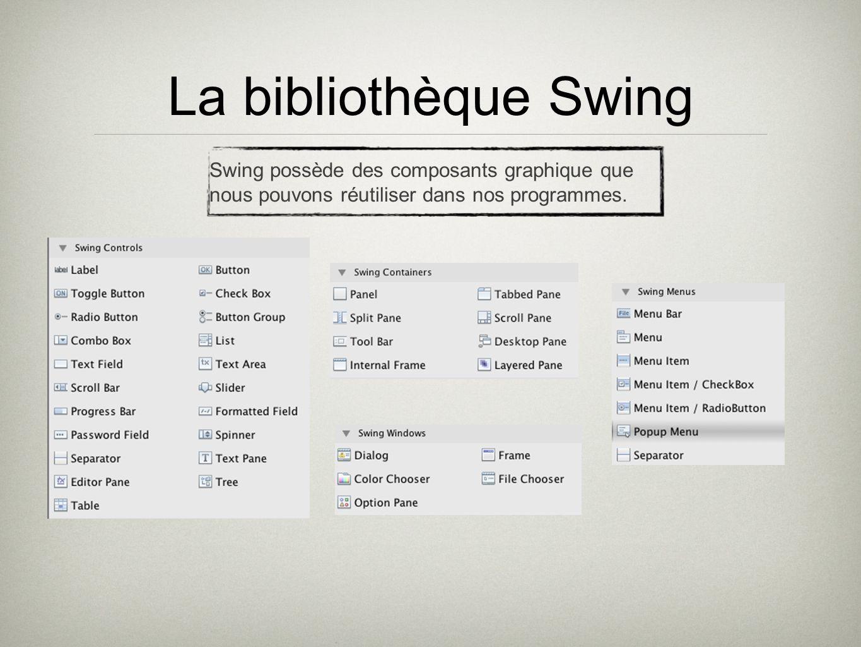 La bibliothèque SwingSwing possède des composants graphique que nous pouvons réutiliser dans nos programmes.