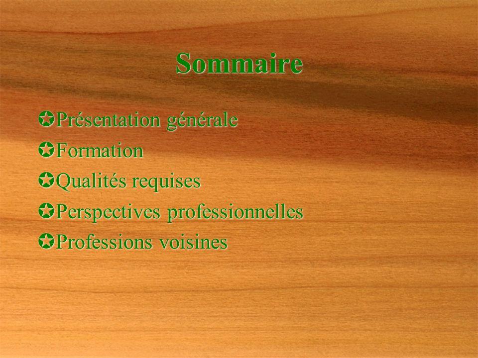 Sommaire Présentation générale Formation Qualités requises