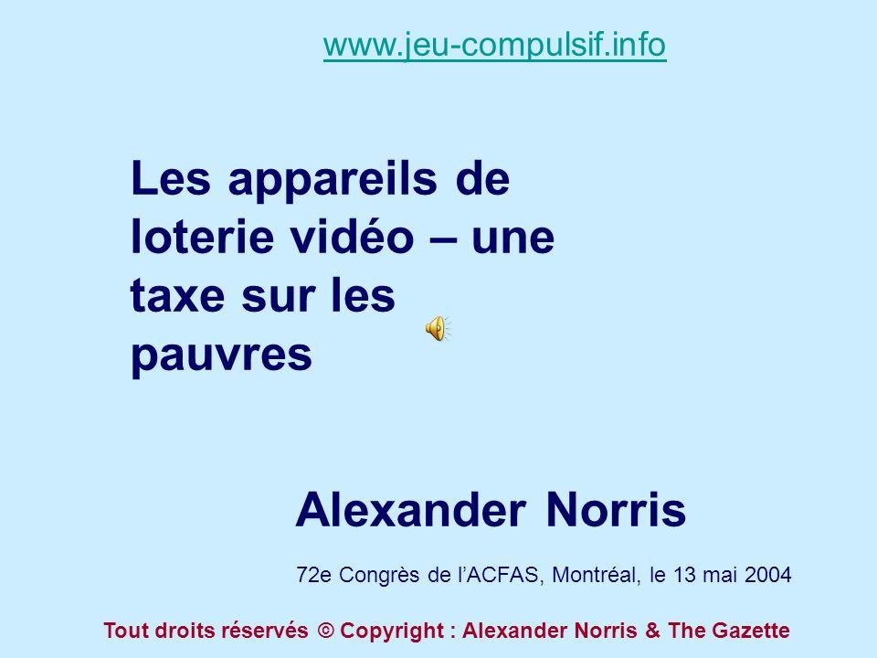 Les appareils de loterie vidéo – une taxe sur les pauvres