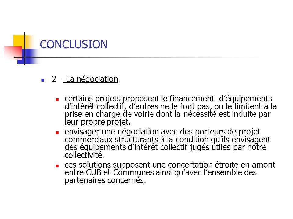 CONCLUSION 2 – La négociation