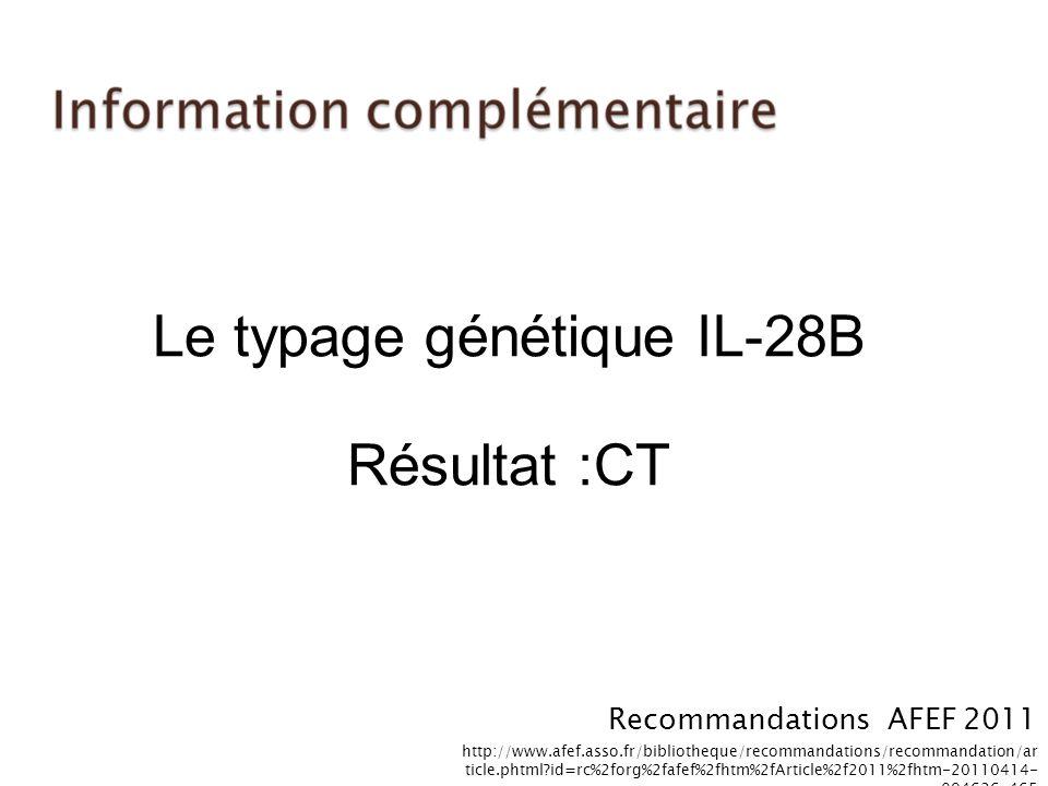Le typage génétique IL-28B Résultat :CT
