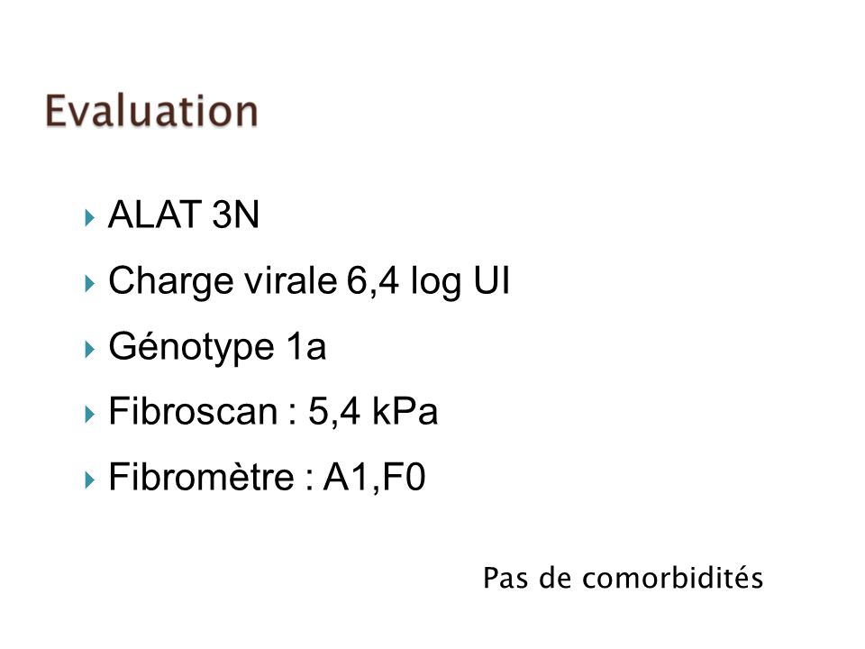 ALAT 3N Charge virale 6,4 log UI Génotype 1a Fibroscan : 5,4 kPa