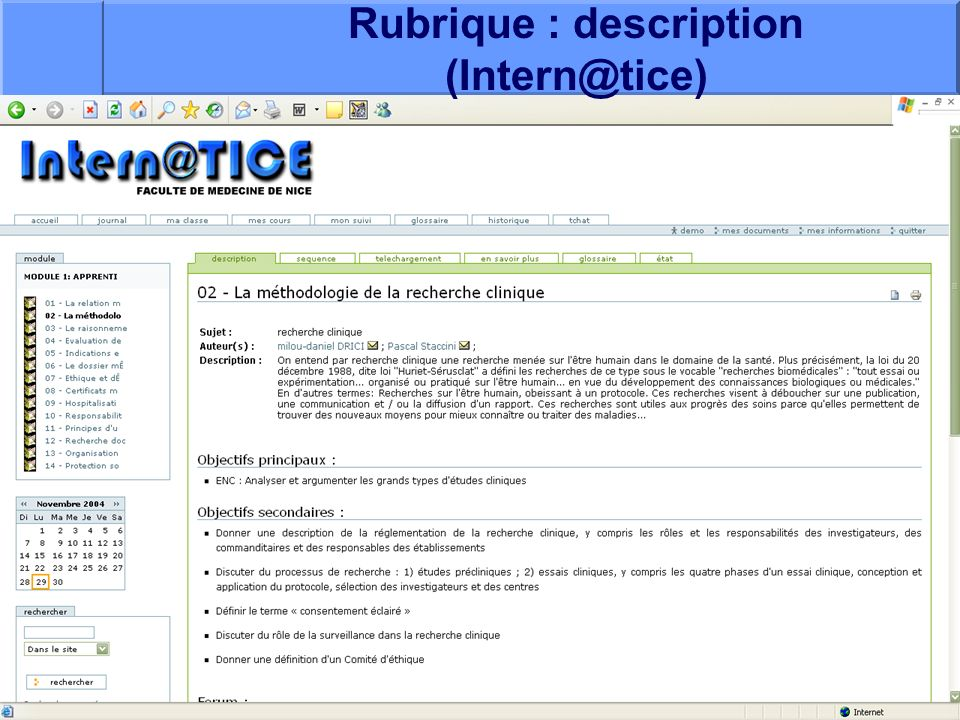 Rubrique : description (Intern@tice)