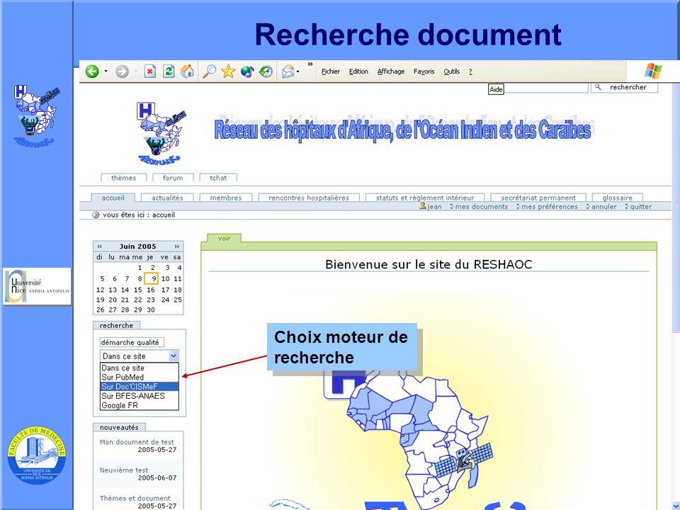 Recherche document Choix moteur de recherche
