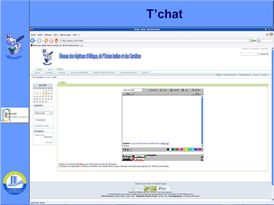 T'chat J. Testa – P Staccini Université Nice-Sophia Antipolis – AG du RESHAOC 10 juin 2005