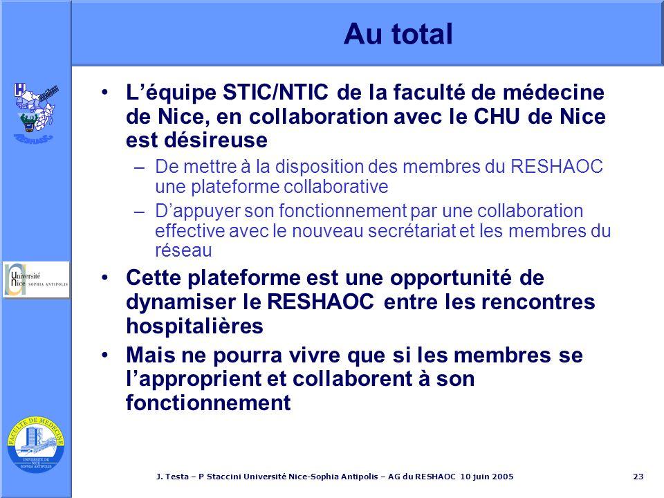 Au total L'équipe STIC/NTIC de la faculté de médecine de Nice, en collaboration avec le CHU de Nice est désireuse.
