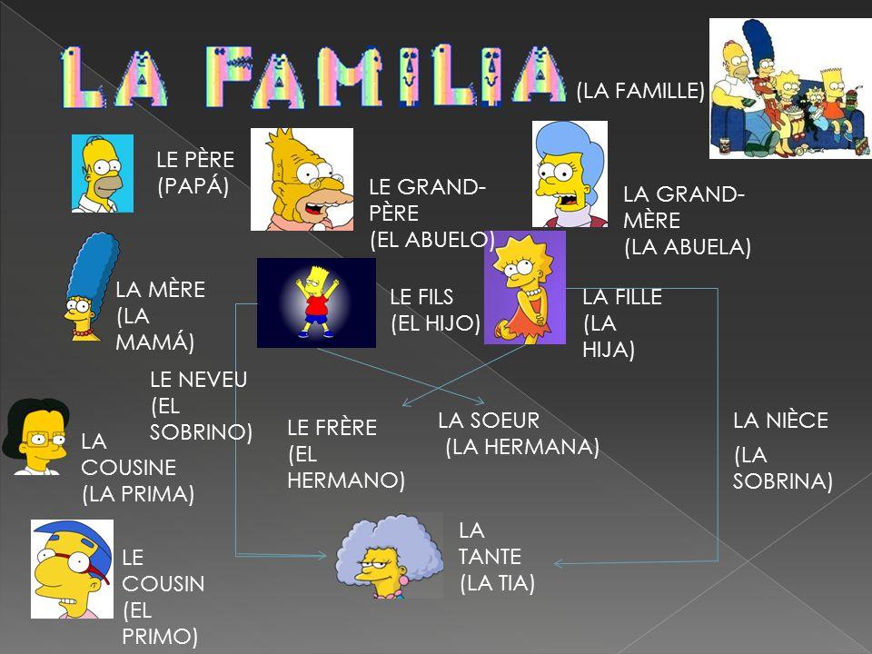(LA FAMILLE) LE PÈRE (PAPÁ) LE GRAND- PÈRE. (EL ABUELO) LA GRAND-MÈRE. (LA ABUELA) LA MÈRE. (LA MAMÁ)