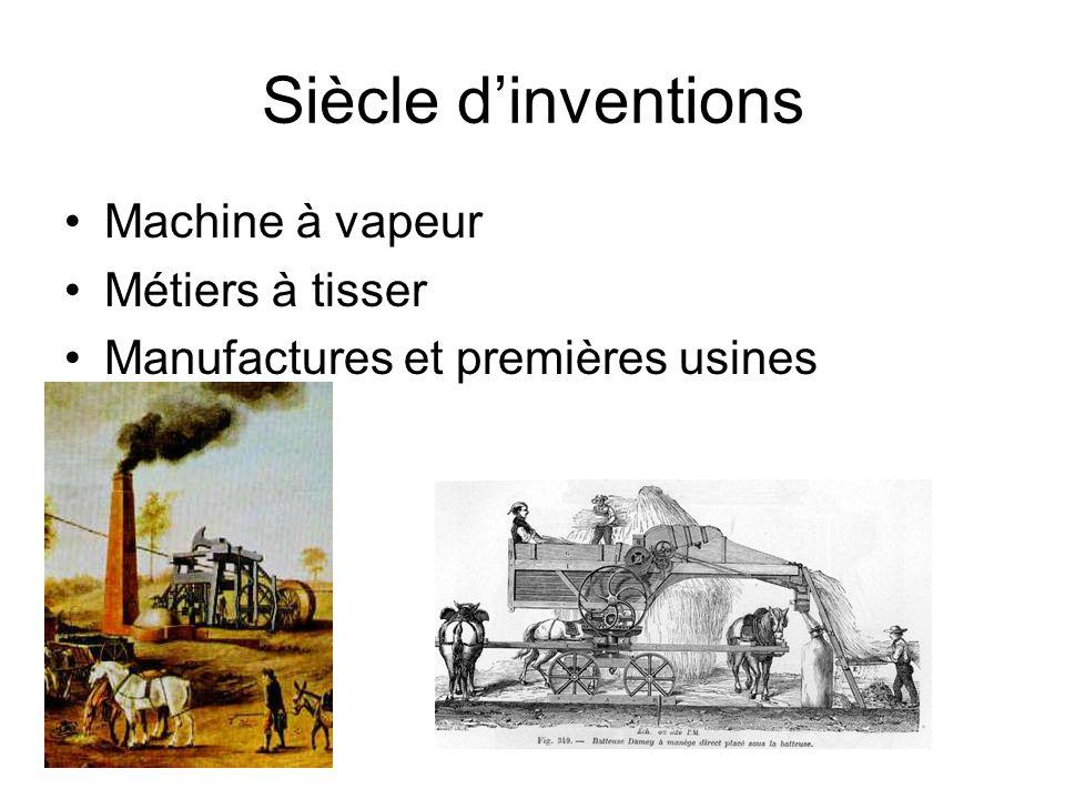 Siècle d'inventions Machine à vapeur Métiers à tisser