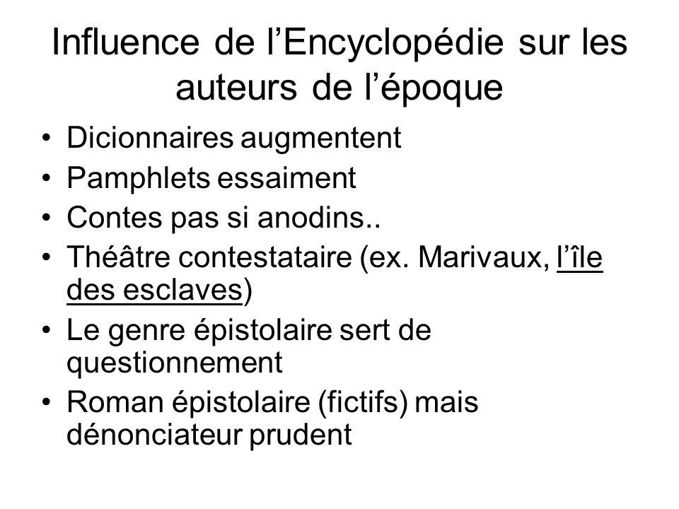 Influence de l'Encyclopédie sur les auteurs de l'époque