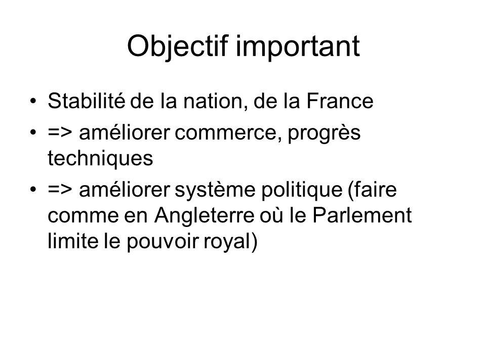 Objectif important Stabilité de la nation, de la France