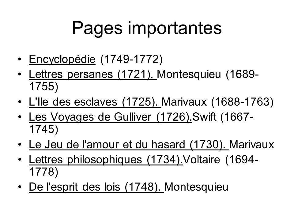 Pages importantes Encyclopédie (1749-1772)