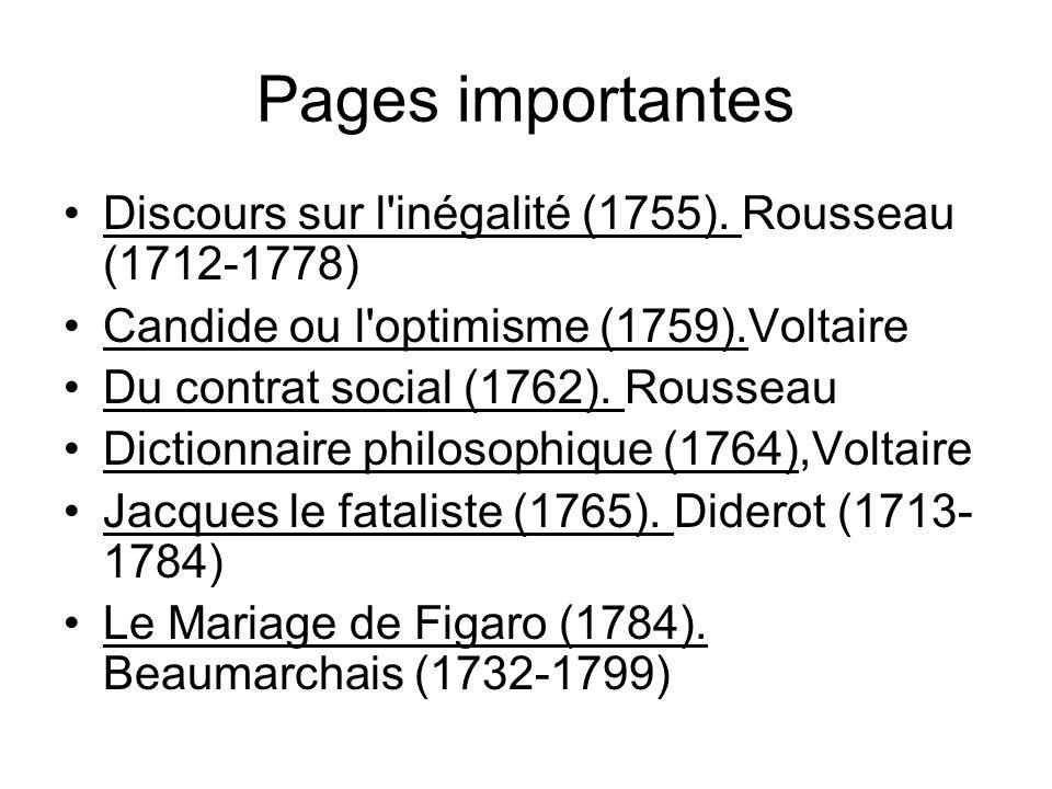 Pages importantes Discours sur l inégalité (1755). Rousseau (1712-1778) Candide ou l optimisme (1759).Voltaire.
