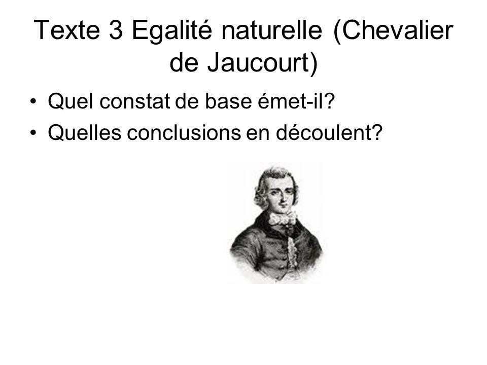 Texte 3 Egalité naturelle (Chevalier de Jaucourt)