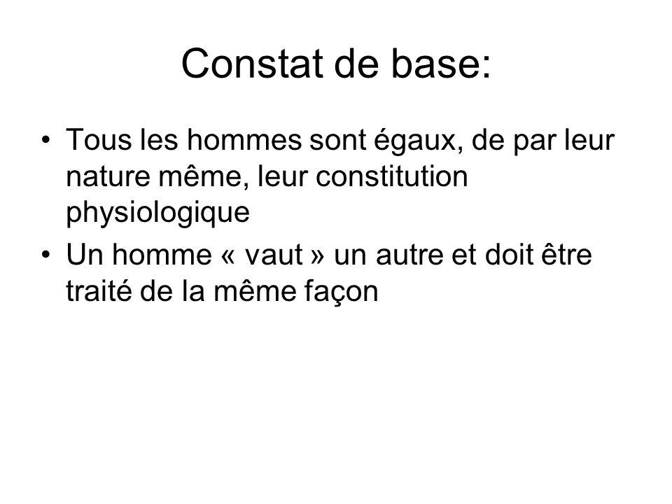 Constat de base: Tous les hommes sont égaux, de par leur nature même, leur constitution physiologique.