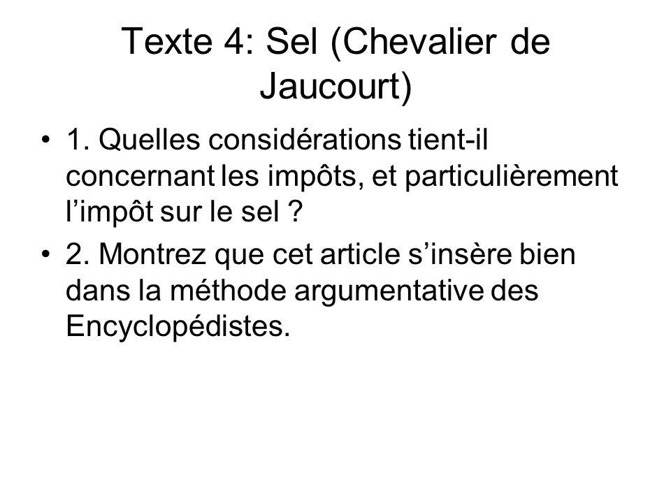 Texte 4: Sel (Chevalier de Jaucourt)