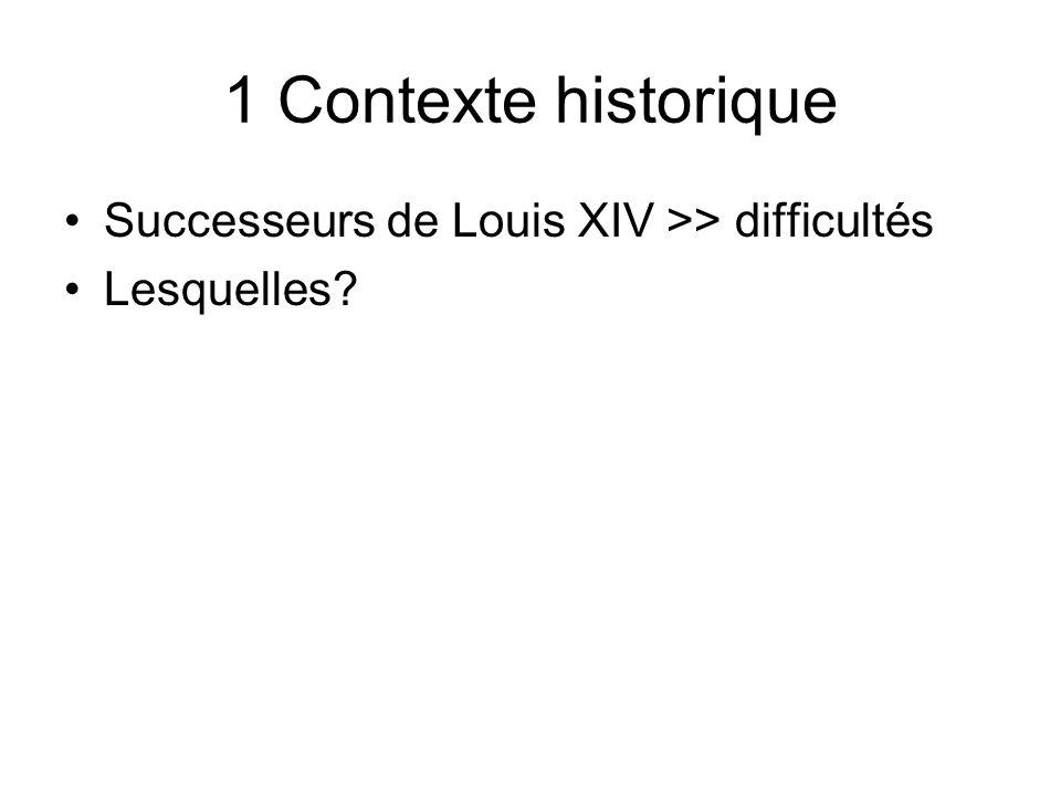 1 Contexte historique Successeurs de Louis XIV >> difficultés