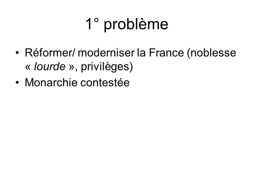 1° problème Réformer/ moderniser la France (noblesse « lourde », privilèges) Monarchie contestée