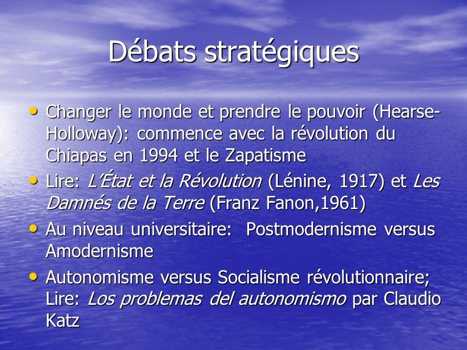Débats stratégiques Changer le monde et prendre le pouvoir (Hearse-Holloway): commence avec la révolution du Chiapas en 1994 et le Zapatisme.