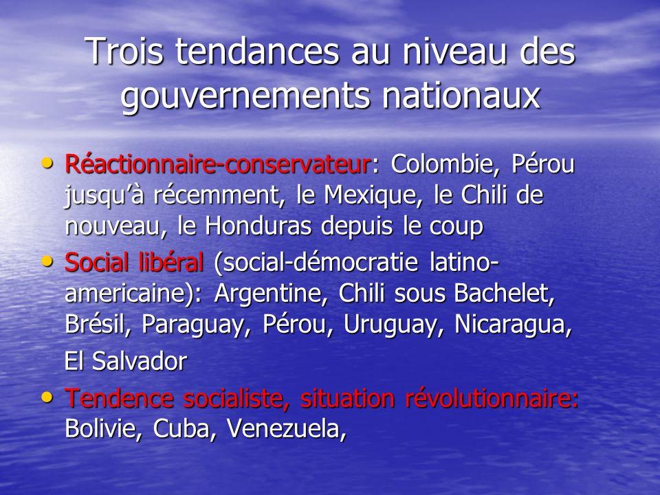 Trois tendances au niveau des gouvernements nationaux