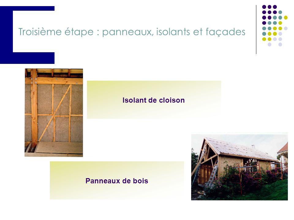 Troisième étape : panneaux, isolants et façades