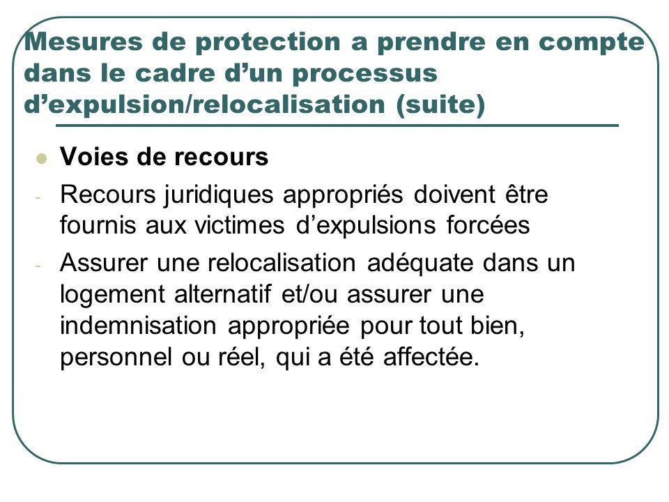 Mesures de protection a prendre en compte dans le cadre d'un processus d'expulsion/relocalisation (suite)