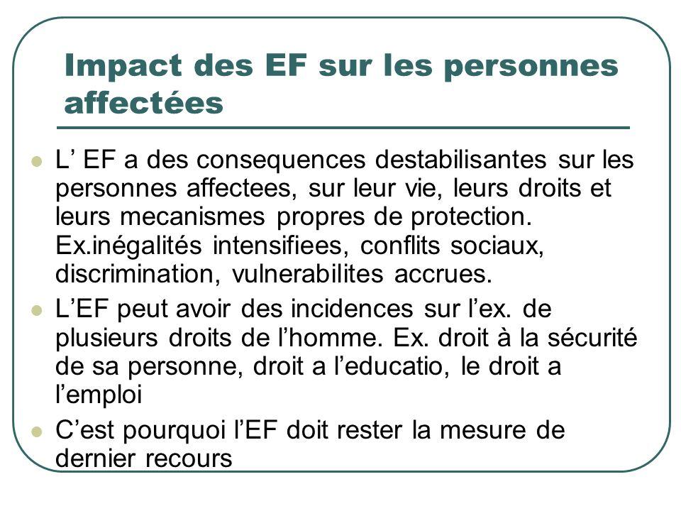 Impact des EF sur les personnes affectées