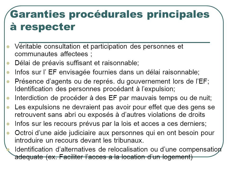 Garanties procédurales principales à respecter
