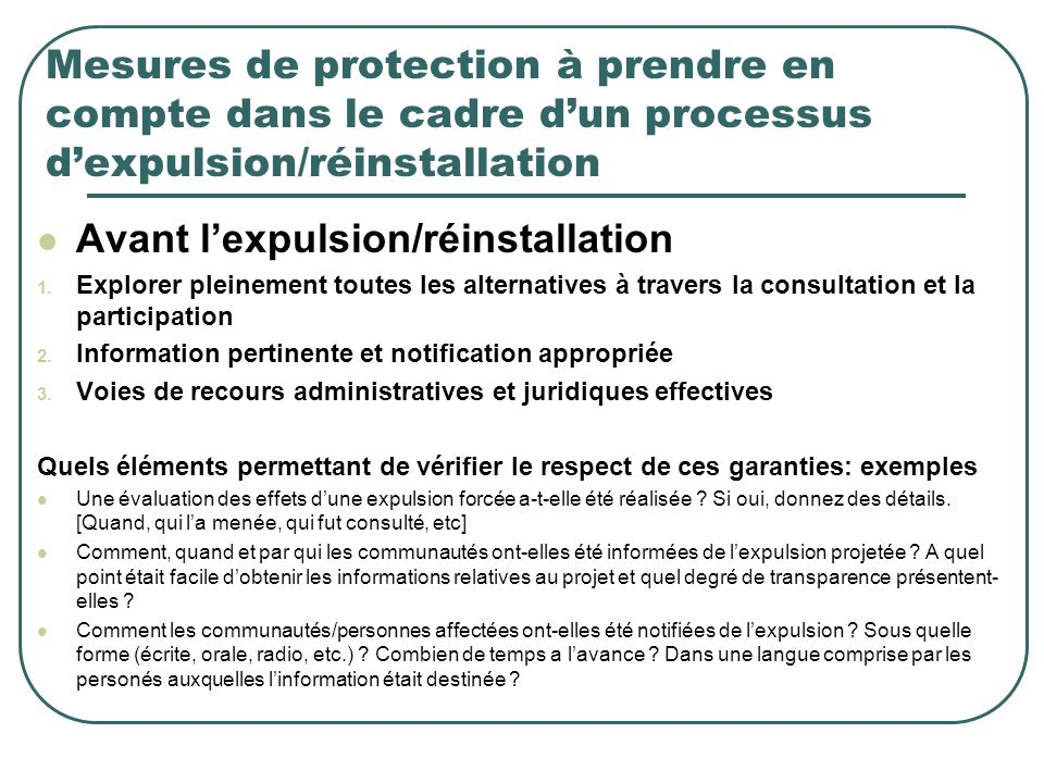 Avant l'expulsion/réinstallation