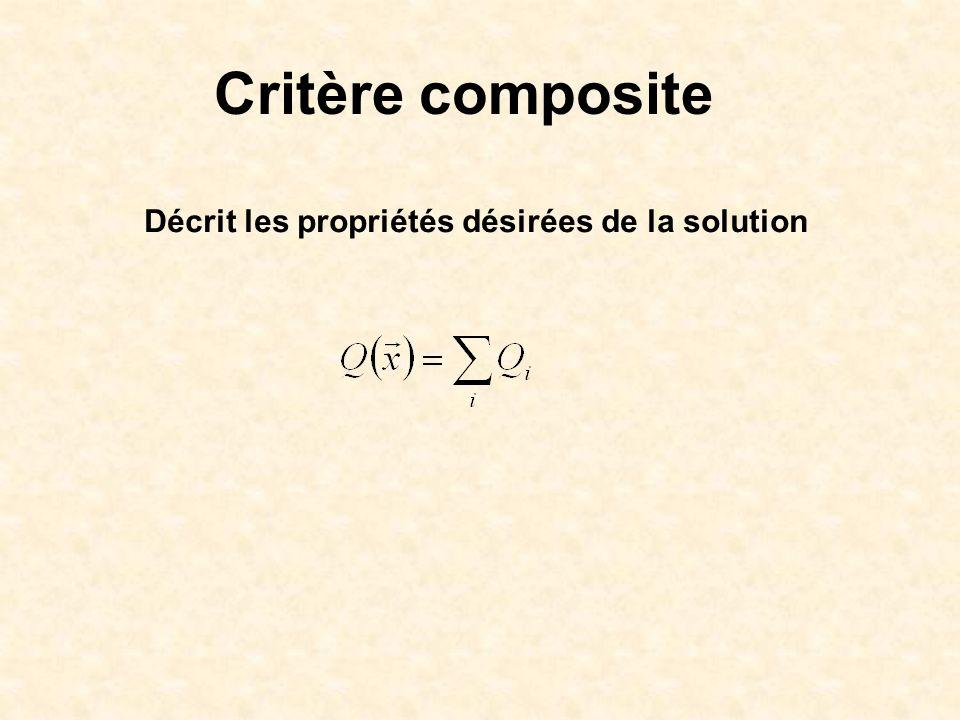 Critère composite Décrit les propriétés désirées de la solution