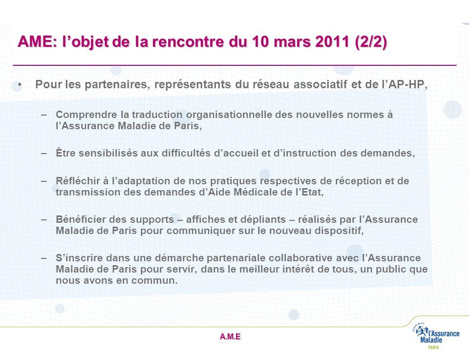 AME: l'objet de la rencontre du 10 mars 2011 (2/2)